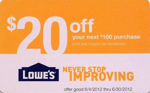 One 1 lowe s lowes home depot store coupon 20 off 100 exp 6 30